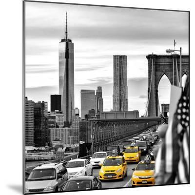 Yellow Taxi on Brooklyn Bridge Overlooking the One World Trade Center (1WTC)-Philippe Hugonnard-Mounted Premium Photographic Print