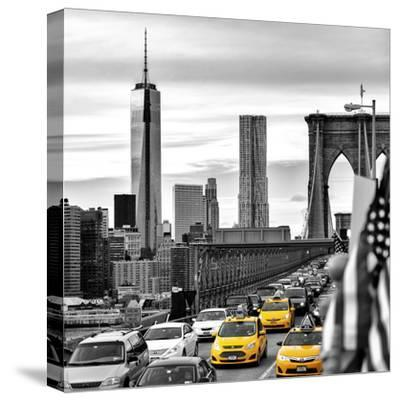 Yellow Taxi on Brooklyn Bridge Overlooking the One World Trade Center (1WTC)-Philippe Hugonnard-Stretched Canvas Print