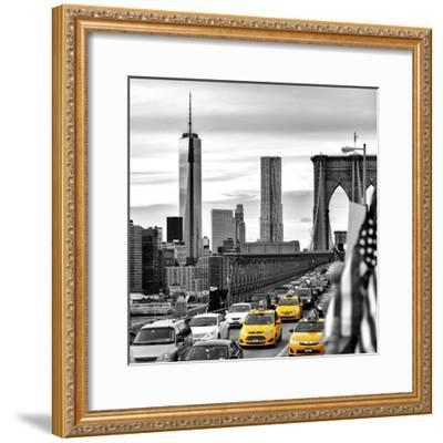 Yellow Taxi on Brooklyn Bridge Overlooking the One World Trade Center (1WTC)-Philippe Hugonnard-Framed Photographic Print