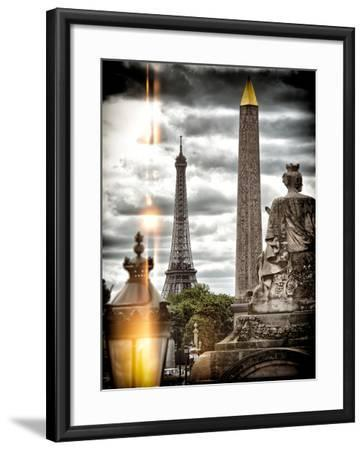 Instants of Series - Place de la Concorde with Obelisk and Eiffel Tower View - Paris, France-Philippe Hugonnard-Framed Photographic Print