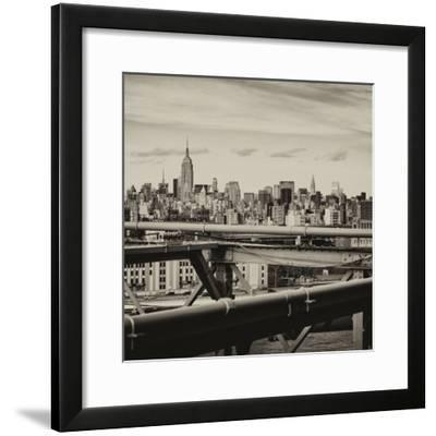View of Brooklyn Bridge with the Empire State Buildings-Philippe Hugonnard-Framed Photographic Print