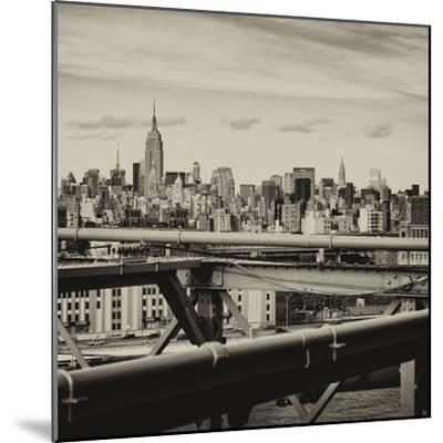 View of Brooklyn Bridge with the Empire State Buildings-Philippe Hugonnard-Mounted Photographic Print