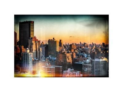 Instants of NY Series - Cityscape of Manhattan in Winter at Sunset-Philippe Hugonnard-Stretched Canvas Print
