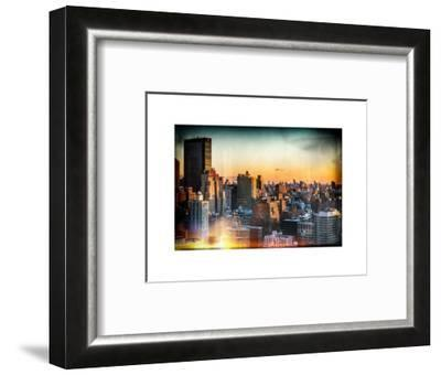 Instants of NY Series - Cityscape of Manhattan in Winter at Sunset-Philippe Hugonnard-Framed Photographic Print