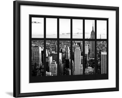 Window View - Landscape with the Empire State Building and the 1 WTC - Manhattan - NYC-Philippe Hugonnard-Framed Photographic Print