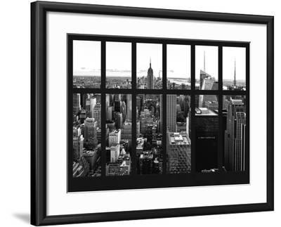 Window View - Skyline of Manhattan with the Empire State Building - Times Square - NYC-Philippe Hugonnard-Framed Photographic Print