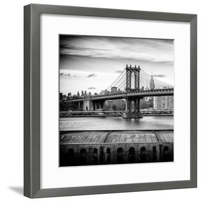 Manhattan Bridge with the Empire State Building from Brooklyn-Philippe Hugonnard-Framed Photographic Print