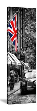 London Taxi and English Flag - London - UK - England - United Kingdom - Door Poster-Philippe Hugonnard-Stretched Canvas Print