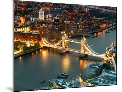 View of City of London with the Tower Bridge at Night - London - UK - England - United Kingdom-Philippe Hugonnard-Mounted Photographic Print