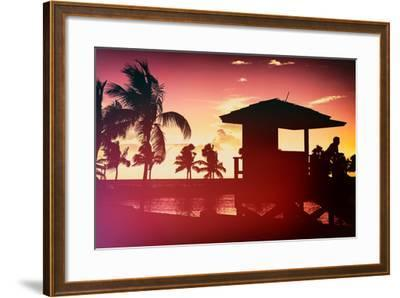 Silhouette of Life Guard Station at Sunset - Miami-Philippe Hugonnard-Framed Photographic Print