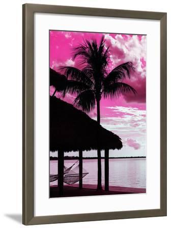The Hammock and Palm Tree at Sunset - Beach Hut - Florida-Philippe Hugonnard-Framed Photographic Print