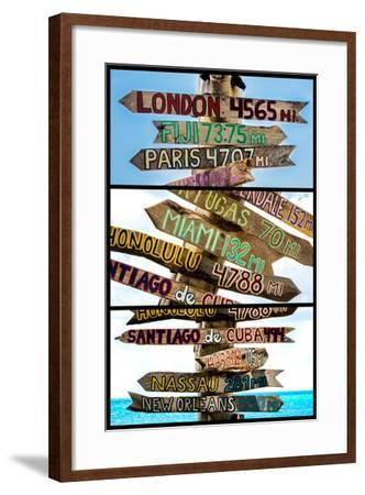 Triptych Collection - Destination Signs - Key West - Florida-Philippe Hugonnard-Framed Photographic Print