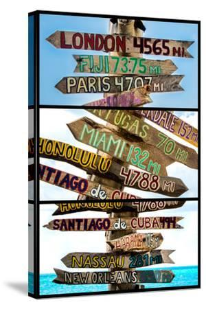 Triptych Collection - Destination Signs - Key West - Florida-Philippe Hugonnard-Stretched Canvas Print