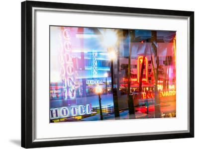 Instants of Series - Art Deco Architecture of Ocean Drive by Night - Miami Beach - Florida-Philippe Hugonnard-Framed Photographic Print
