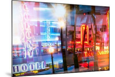 Instants of Series - Art Deco Architecture of Ocean Drive by Night - Miami Beach - Florida-Philippe Hugonnard-Mounted Photographic Print