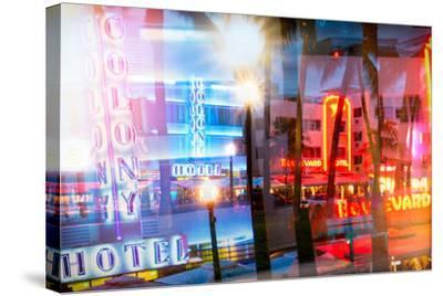 Instants of Series - Art Deco Architecture of Ocean Drive by Night - Miami Beach - Florida-Philippe Hugonnard-Stretched Canvas Print
