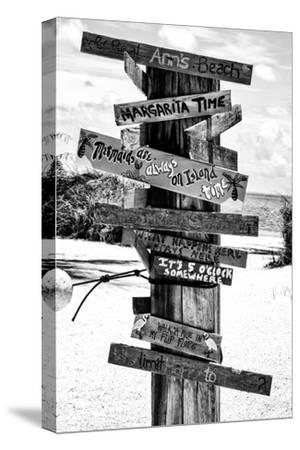 Directional Fun Signs on the Beach - Florida-Philippe Hugonnard-Stretched Canvas Print