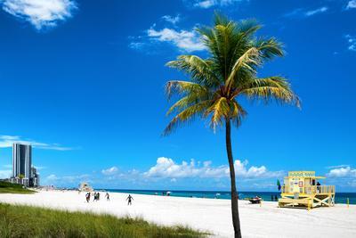 Miami Beach with Life Guard Station - Florida - USA-Philippe Hugonnard-Framed Photographic Print