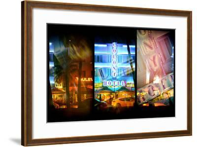 Triptych Collection - Miami Beach Art Deco District - The Colony Hotel by Night-Philippe Hugonnard-Framed Photographic Print