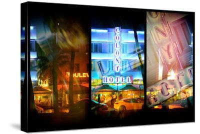 Triptych Collection - Miami Beach Art Deco District - The Colony Hotel by Night-Philippe Hugonnard-Stretched Canvas Print