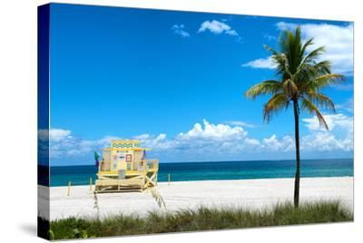 South Miami Beach Landscape with Life Guard Station - Florida-Philippe Hugonnard-Stretched Canvas Print
