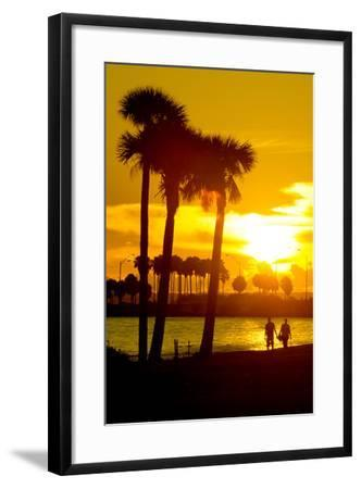 Romantic Walk along the Ocean at Sunset-Philippe Hugonnard-Framed Photographic Print