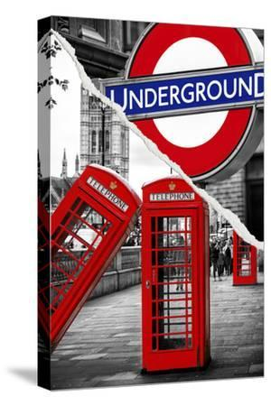 Dual Torn Posters Series - London-Philippe Hugonnard-Stretched Canvas Print