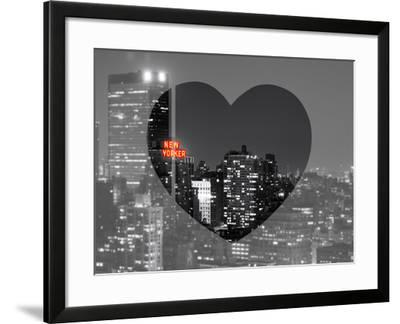 Love NY Series - B&W Cityscape at Night with the New Yorker Hotel - Manhattan - New York - USA-Philippe Hugonnard-Framed Photographic Print