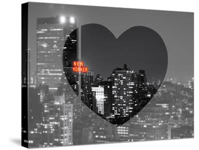 Love NY Series - B&W Cityscape at Night with the New Yorker Hotel - Manhattan - New York - USA-Philippe Hugonnard-Stretched Canvas Print