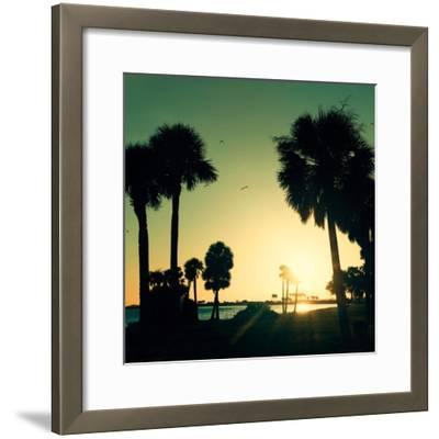 Silhouette Palm Trees at Sunset-Philippe Hugonnard-Framed Photographic Print