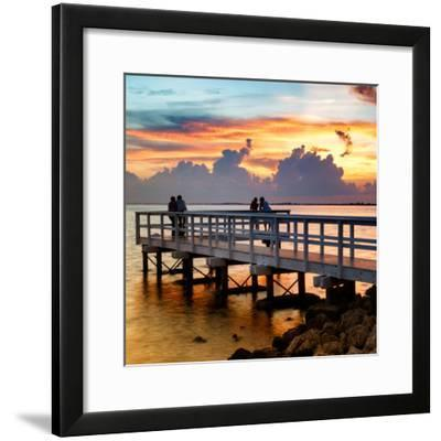 The Pier at Sunset Lovers-Philippe Hugonnard-Framed Photographic Print