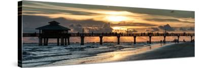 Fishing Pier Fort Myers Beach at Sunset-Philippe Hugonnard-Stretched Canvas Print