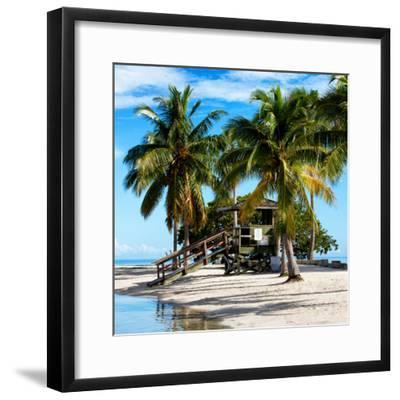 Paradisiacal Beach with a Life Guard Station - Miami - Florida-Philippe Hugonnard-Framed Photographic Print