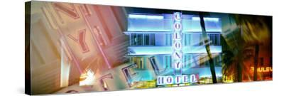 Miami Beach Art Deco District - The Colony Hotel by Night - Ocean Drive - Florida-Philippe Hugonnard-Stretched Canvas Print