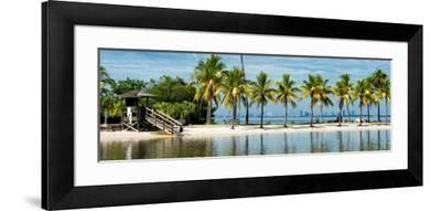 Paradisiacal Beach overlooking Downtown Miami - Florida-Philippe Hugonnard-Framed Photographic Print