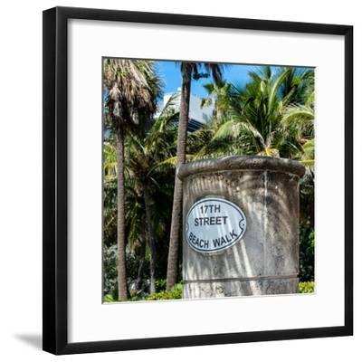 Beach Walk Sign - 17th Street - Miami Beach - Florida-Philippe Hugonnard-Framed Photographic Print