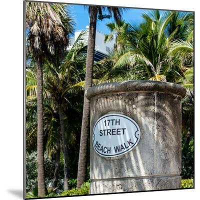 Beach Walk Sign - 17th Street - Miami Beach - Florida-Philippe Hugonnard-Mounted Photographic Print