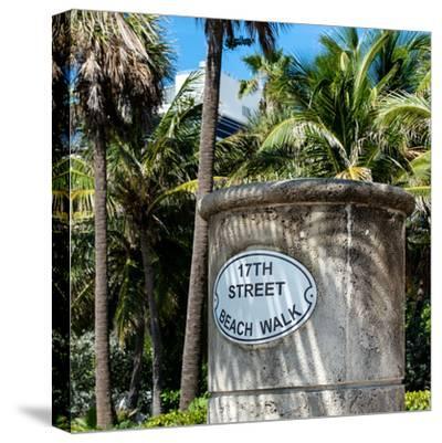 Beach Walk Sign - 17th Street - Miami Beach - Florida-Philippe Hugonnard-Stretched Canvas Print