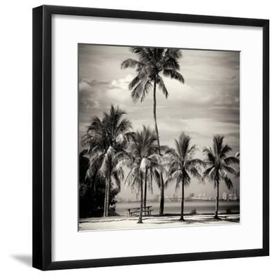 Paradisiacal Beach overlooking Downtown Miami - Florida-Philippe Hugonnard-Framed Photographic Print