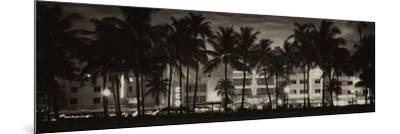 Buildings Lit Up at Dusk - Ocean Drive - Miami Beach-Philippe Hugonnard-Mounted Photographic Print