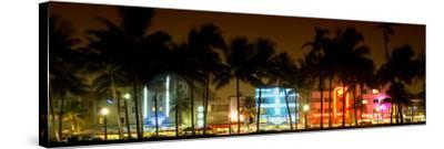 Buildings Lit Up at Dusk of Ocean Drive - Miami Beach - Florida-Philippe Hugonnard-Stretched Canvas Print