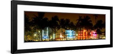 Buildings Lit Up at Dusk of Ocean Drive - Miami Beach - Florida-Philippe Hugonnard-Framed Photographic Print