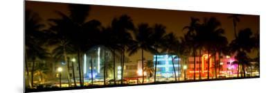 Buildings Lit Up at Dusk of Ocean Drive - Miami Beach - Florida-Philippe Hugonnard-Mounted Photographic Print