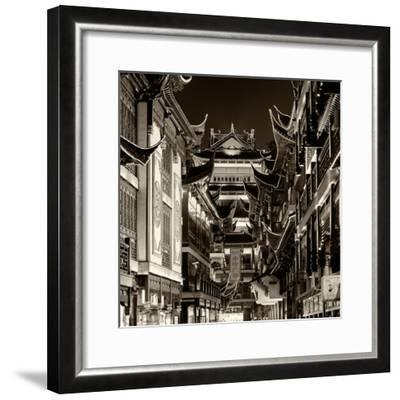 China 10MKm2 Collection - Traditional Architecture in Yuyuan Garden at night - Shanghai-Philippe Hugonnard-Framed Photographic Print
