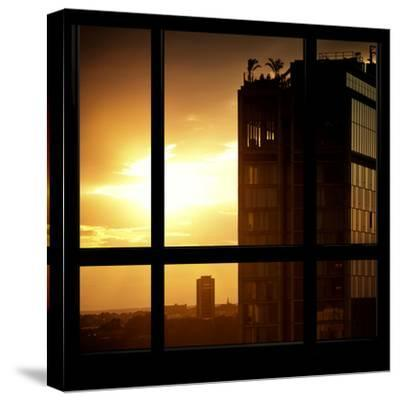 View from the Window - New York Building Sunset-Philippe Hugonnard-Stretched Canvas Print