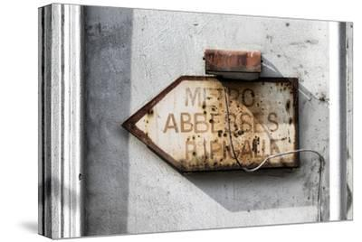 Paris Focus - Old Subway Directional Sign-Philippe Hugonnard-Stretched Canvas Print