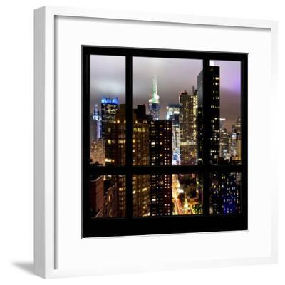 View from the Window - Manhattan Skyline by Night-Philippe Hugonnard-Framed Photographic Print