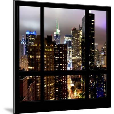 View from the Window - Manhattan Skyline by Night-Philippe Hugonnard-Mounted Photographic Print