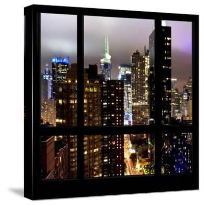 View from the Window - Manhattan Skyline by Night-Philippe Hugonnard-Stretched Canvas Print