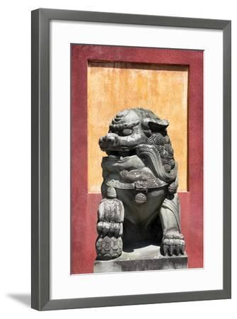 China 10MKm2 Collection - Asian Sculpture of a Stone Lion-Philippe Hugonnard-Framed Photographic Print